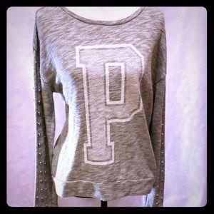 PINK Victoria Secret-Grey Sweatshirt Stud Sleeves